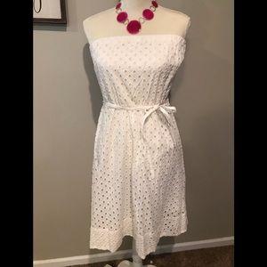 Delia's White eyelet strapless dress. Sz L. NWOT